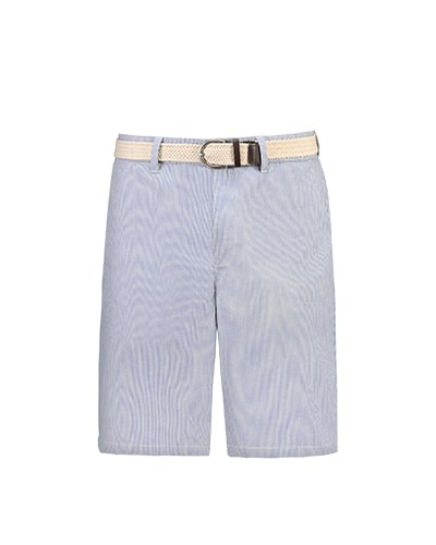 Blue and white fine stripe shorts with light cream woven belt