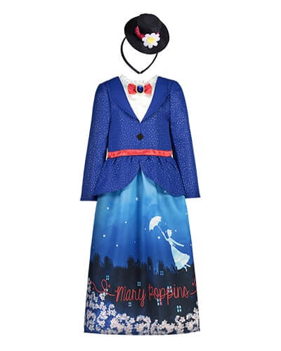 All-in-one costume with mock blue jacket and mock white blouse featuring a red neck bow with a blue plastic jewel. Skirt half has flowers at the bottom and features a night-time town scene and a flying Mary Poppins silhouette in white, with the words Mary Poppins in red. Comes with a small black hat on a headband