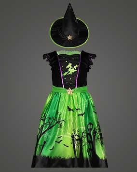 Cap sleeve green and black dress with witch and spooky Halloween sihouettes, comes with a black witch's hat