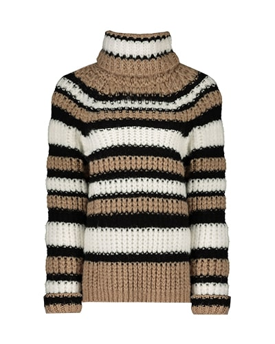 Chunky knit white, black and beige striped roll neck jumper