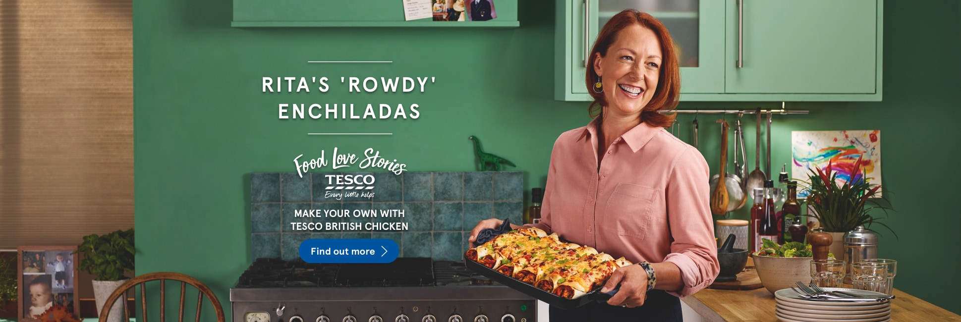 Make your own Rita's 'rowdy' enchiladas with Tesco British chicken