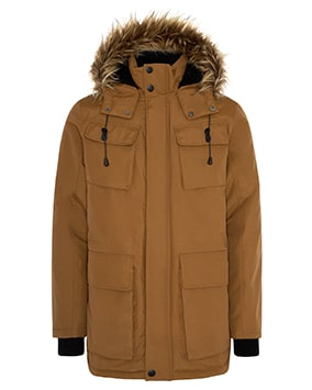 Tobacco brown parka-style zip-up coat with popper buttons and 4 pockets