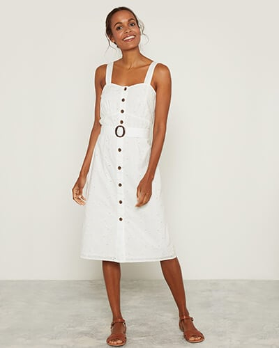 White, sleeveless, button-through midi dress with thick shoulder straps and a belt with a circle buckle