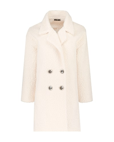 Women's white, double breasted knitted coat with dark buttons