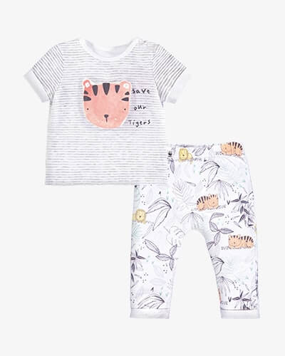 Grey and white stripe T-shirt with cute illustrated tiger's face on front, with the words save our tigers. Comes with white leggings with tiger and lion jungle illustrated print