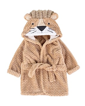 Light brown dressing gown with woven zigzag texture and novelty lion face, ears and mane on hood
