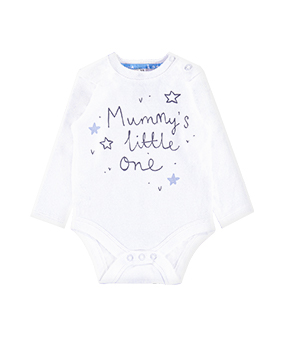 "Sleepsuit shown is long sleeve, white, with ""Mummy's little one' written on the front, with 4 stars"