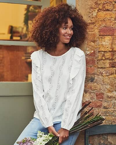 Long sleeve white blouse with broderie detail and frills on sleeve seam