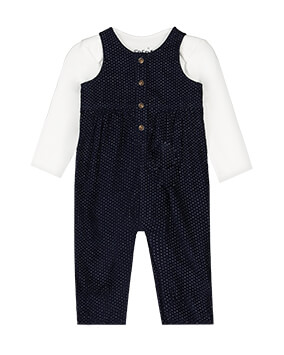 Black button-up dungarees with white micro polka dot pattern, teamed with long sleeve white top