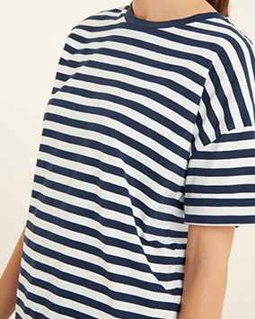 Baggy T-shirt with white and navy stripes