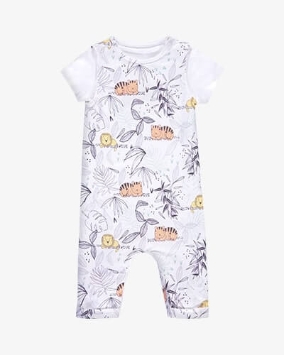 Sleeveless white romper suit with tiger and lion jungle illustrated print. Comes with white T-shirt