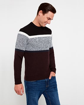 Black, white, grey, navy and brown block stripe knit jumper