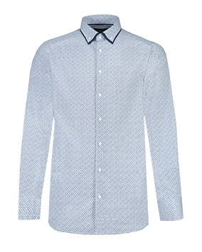 Light blue and white micro geometric patterned shirt with dark blue edging to collar