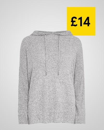 Light grey waffle knit hoodie