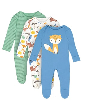 One blue sleepsuit with fox design; one white sleepsuit with fox, raccoon, beaver and bear print; one mint green sleepsuit with dark flecks