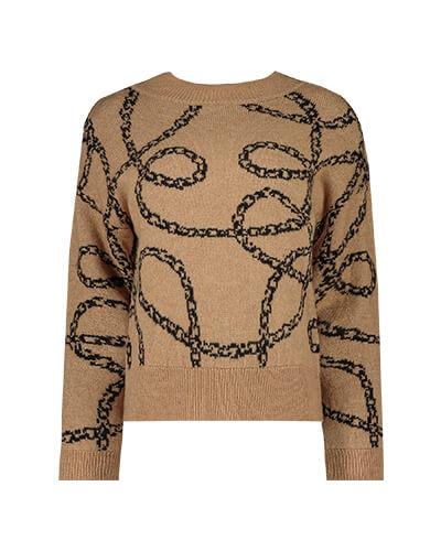 Beige jumper with black chain print