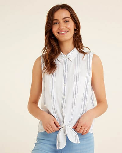 Sleeveless, white, tie-front shirt with light grey thin stripes