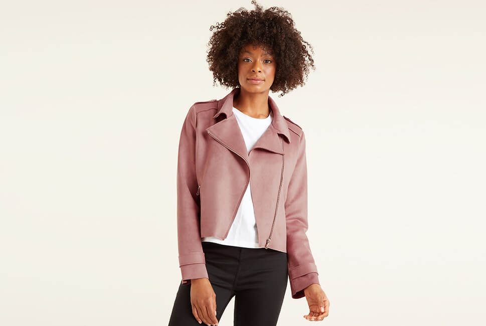 Blush pink zip up jacket with 2 zip pockets