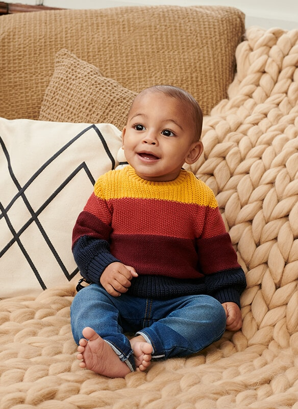 Block stripe jumper with 4 stripes in navy, burgundy, brick red, and mustard