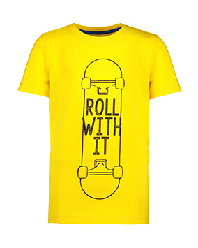 Yellow T-shirt with skateboard motif and 'roll with it' slogan