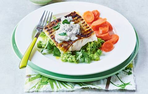 Crispy cod with pea mash and lighter tartare sauce