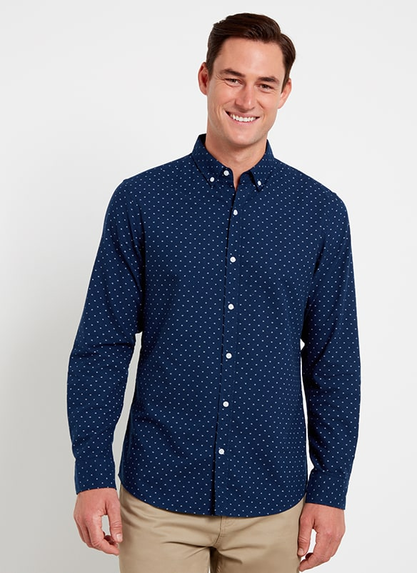 Dark blue long-sleeve shirt with small white spot print