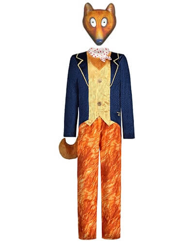 All-in-one costume with mock navy jacket, gold waistcoat, red and white spotten neckerchief, and fur print bottoms. Comes with a fox mask