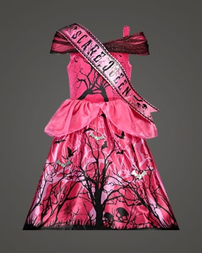 Strapless fuchsia pink dress with spooky Halloween sihouettes and matching sash with the words 'scare queen'
