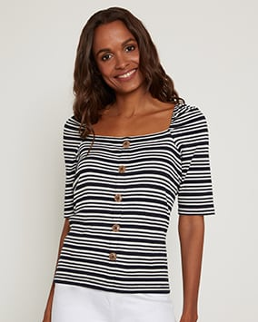 Black and white ribbed button up top